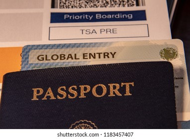 Boarding Pass with Global Entry Card, TSA Pre and USA Passport