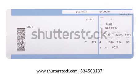 Boarding Pass Isolated On White Background Stock Photo Edit Now