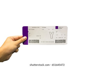 Boarding pass on hand on white background in traveler concept