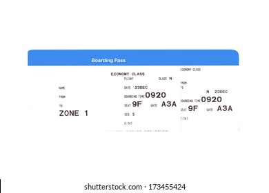 Boarding pass to the passenger airplane