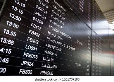 Boarding time monitor screens - timetable boards. Arrivals and departures monitors to check status. Prague, Ljubljana, Dublin, Warsaw, Amsterdam, Paris, Barselona, London, Frankfurt.