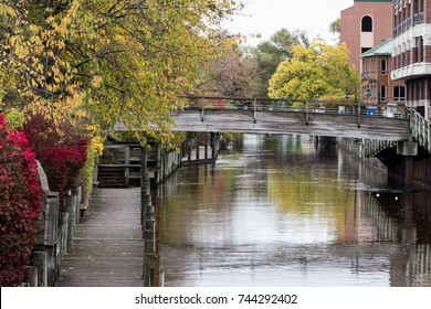 boardman river flowing through Downtown Traverse City on a overcast fall day