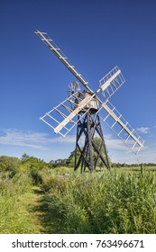 Boardman's Mill, a skeleton windmill or wind pump in the Norfolk Broads, Norfolk, England.