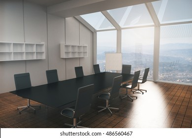 Boardroom interior with furniture, wooden floor, concrete walls and panoramic window with city view. 3D Rendering