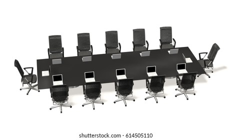 boardroom, meeting,  conference table with with Office chairs and notebooks. Business concept. Isolate on white - 3d rendering