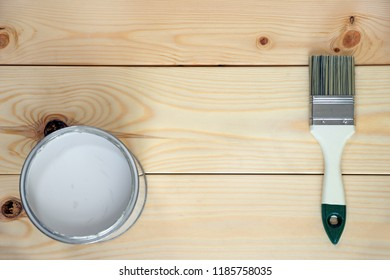 Boards, paint, brush