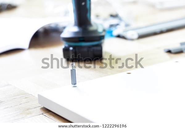 Boards and tools lying on the floor