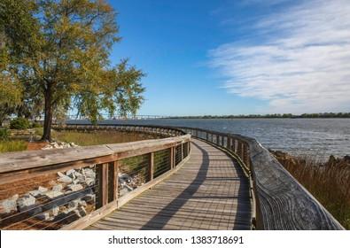 Boardwalk along the Cooper River at North Charleston, South Carolina, Riverfront Park.