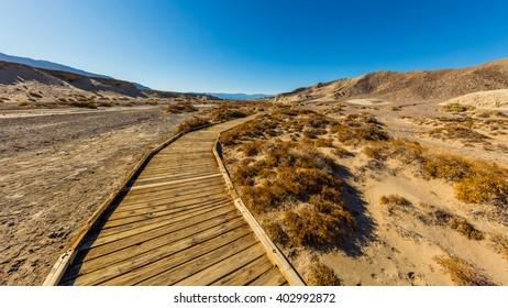 Boardwalk along small stream. Salt creek interpretive trail, Death Valley National Park, California