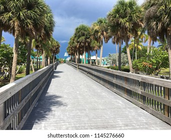 Boardwalk to the beach at Bowditch Point Regional Park.   Bowditch is located at the northern tip of Estero Island on Fort Myers Beach, Florida, USA.