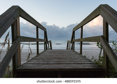 Boardwalk to the beach.  Ocean access steps on Topsail Island in North Carolina.