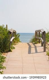 Boardwalk to the beach at Parker River National Wildlife Refuge on Plum Island in Newburyport, MA.