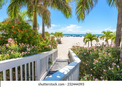 Boardwalk to a beach in St. Pete, Florida, USA