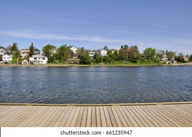 Boardwalk in a beautiful day in Timmins, Ontario, Canada