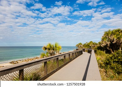 Boardwalk at Caspersen Beach on the Gulf of Mexico in Venice Florida