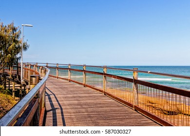 The boardwalk connects the beaches at Caloundra, Queensland, Australia. People use the boardwalk for walks, jogging, cycling and just hanging around.