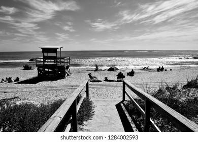 Boardwalk entrance to the ocean beach Florida, USA