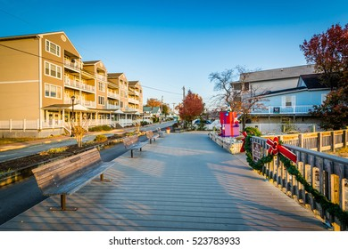 Boardwalk and houses in North Beach, Maryland.