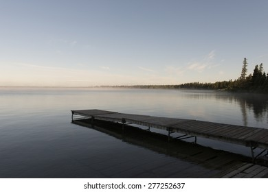 Boardwalk in a lake, Lake Audy Campground, Riding Mountain National Park, Manitoba, Canada