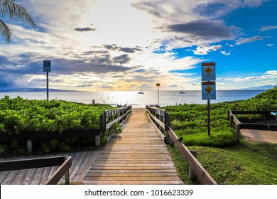 Boardwalk leading to a beach in Maui, Hawaii