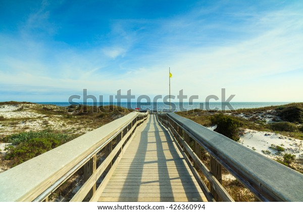 Boardwalk leading to a beautiful North Florida panhandle beach.