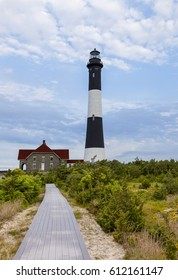 Boardwalk leading to Fire Island Lighthouse. Fire Island, Long Island, New York.