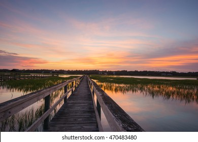 boardwalk and marsh in Pawleys Island, South Carolina