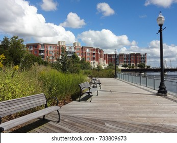 Boardwalk in New Bern, North Carolina on a beautiful spring day.