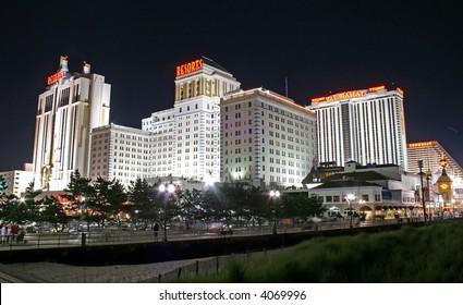Boardwalk at night in Atlantic City New Jersey
