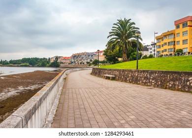 Boardwalk of O Temple illage along O Burgo estuary in Cambre town