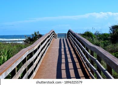 Boardwalk to the ocean beach in Florida, USA