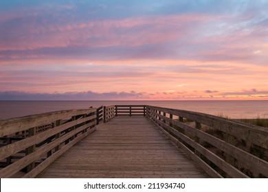 Boardwalk on beach at the crack of dawn (Green Gables Shore, Prince Edward Island, Canada)