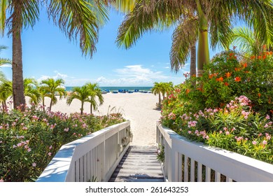 Boardwalk on beach in St. Pete, Florida, USA