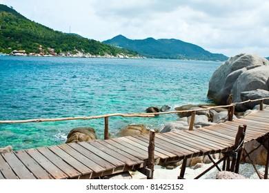 a boardwalk on the island