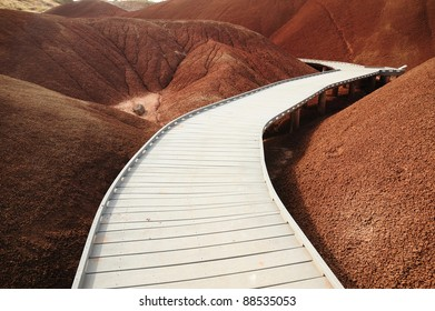 boardwalk on painted hills in john day national monument, oregon, usa