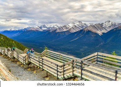 Boardwalk on Sulphur Mountain connecting Gondola landing.Gondola ride to Sulphur Moutain overlooks the Bow Valley and the town of Banff.Canada