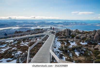 The boardwalk on the summit of Mount Wellington in Hobart the capital city of Tasmania state of Australia.