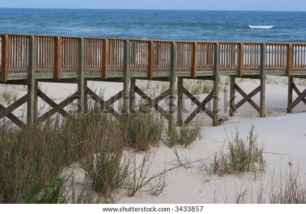 Boardwalk over dunes to beach