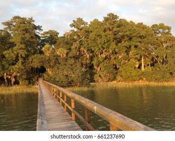 Boardwalk over River to Island