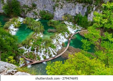 Boardwalk in the park Plitvice lakes, Croatia