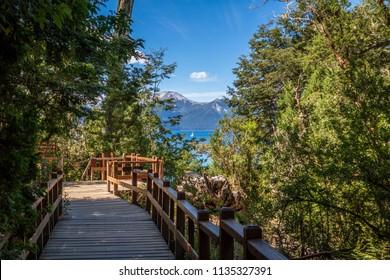 Boardwalk path at Arrayanes National Park - Villa La Angostura, Patagonia, Argentina