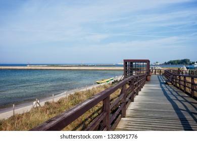 Boardwalk promenade along Baltic Sea coast in Hel town on Hel Peninsula in Poland.