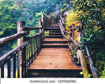 The boardwalk and stairs through Bushkill Falls canyon that located in Northeast Pennsylvania's Pocono Mountains in the United States.