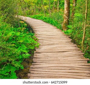 Boardwalk through the waterfalls of Plitvice Lakes National Park in Croatia