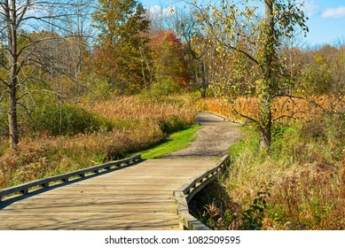 A boardwalk trail threads through a wild meadow in late autumn, in Twinsburg, Ohio