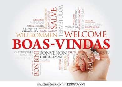 Boas-Vindas (Welcome in Brazilian Portuguese) word cloud with marker in different languages, conceptual background