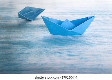 Boat Accident with Origami Boats, Symbolical Background
