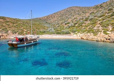 A boat in the Aegean Sea. Bodrum, Mugla, Turkey