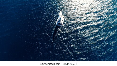 boat in aerial view , French Polynesia