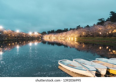 Boat along West Moat of Hirosaki Park. Hirosaki Park is one of Japan's best cherry blossom spots at Aomori, Japan.